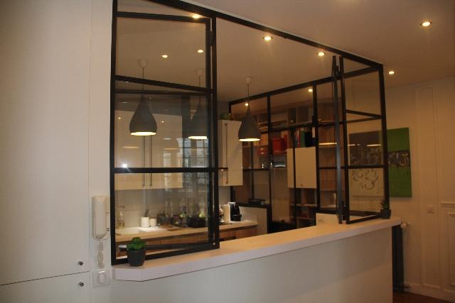 Verri re avec deux panneaux ouvrants verri re d Verriere coulissante pour cuisine